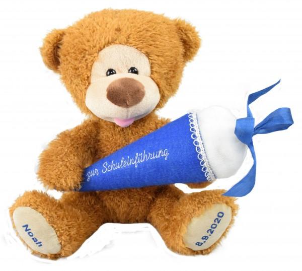 Schuleinführung: Knuddelbär zum Schulanfang mit individueller Bestickung und Zuckertüte