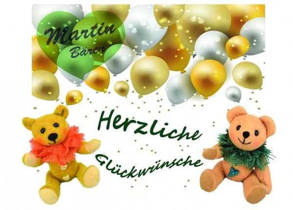 Postkarte Grußkarte Herzliche Glückwünsche Teddybären Luftballons Martin Bären