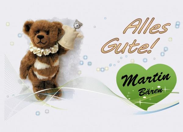 Postkarte Grußkarte Alles Gute Bär Teddybär brauner Bär Martin Bären