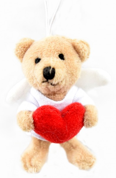 """Schlüsselanhänger Teddy """"Schutzengel mit Herz"""""""